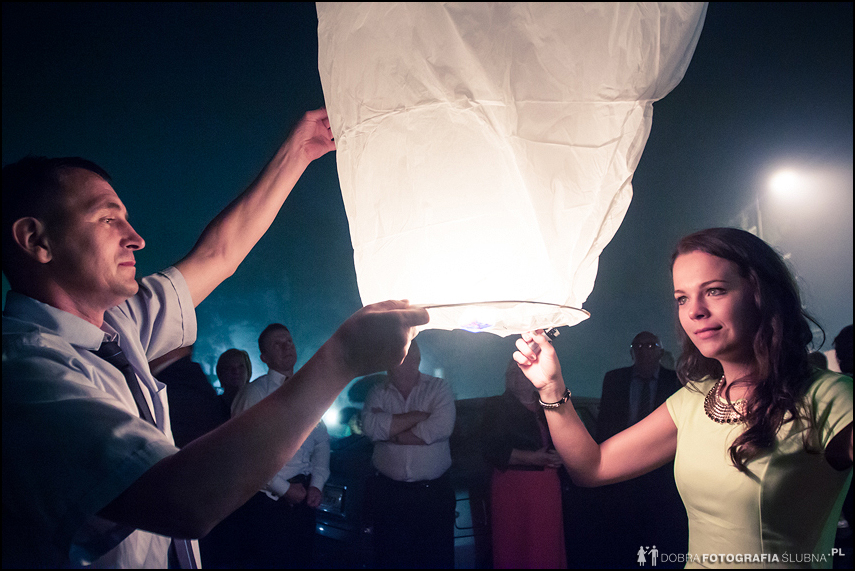 lampiony na weselu Pauliny i Konrada